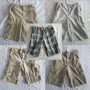 5 Pair Boy's Cargo Shorts Size LRG 14 / 16 LOT EUC